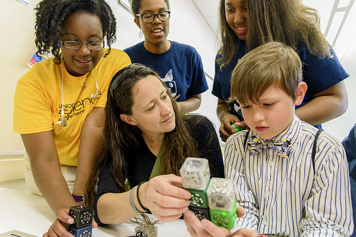 Young engineers built robots that move, light up and make noise in UNCG's School of Education during Science Everywhere.